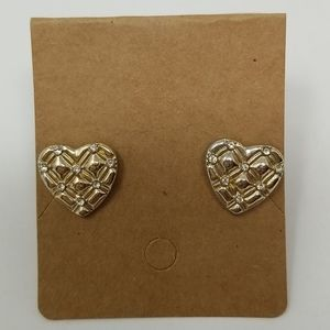 Heart gold quilted pattern rhinestones earrings